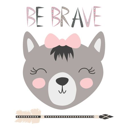 Cute sweet little wolf girl smiling face art. Lettering quote to be brave. Kids nursery scandinavian hand drawn illustration. Graphic design.