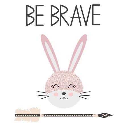 Cute sweet little rabbit smiling face art. Lettering quote Be Brave. Kids nursery scandinavian hand drawn illustration. Graphic design.