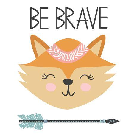 Cute sweet little fox smiling face art. Lettering quote Be Brave. Kids nursery scandinavian hand drawn illustration. Graphic design. Çizim