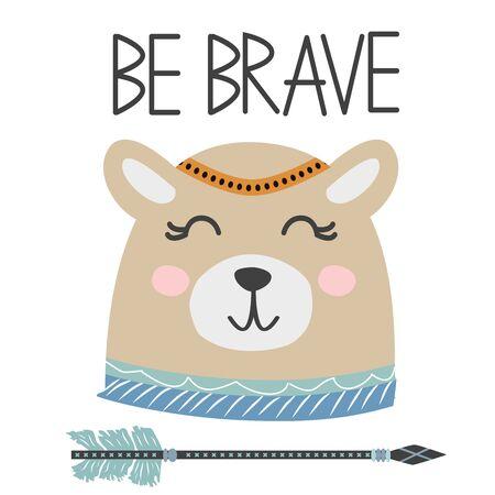 Cute sweet little bear smiling face art. Lettering quote Be Brave. Kids nursery scandinavian hand drawn illustration. Graphic design. Foto de archivo - 129172158