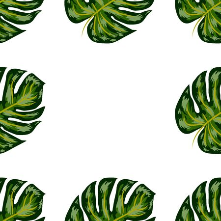 Seamless pattern of leaves monstera. Tropical leaves of palm tree. Vector background. Archivio Fotografico - 129172305
