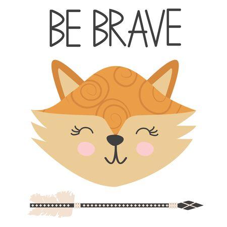 Cute sweet little fox smiling face art. Lettering quote Be Brave. Kids nursery scandinavian hand drawn illustration. Graphic design. Иллюстрация