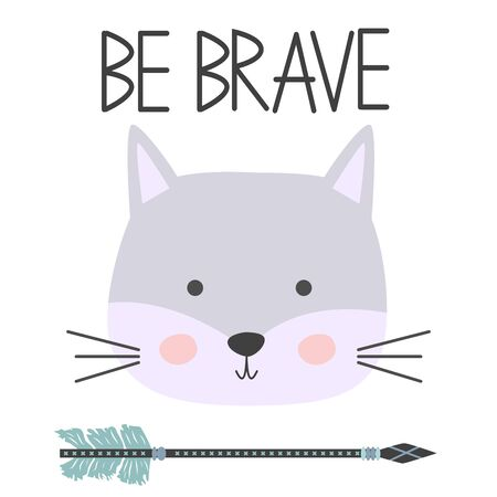 Cute sweet little cat boy smiling face art. Lettering quote Be Brave. Kids nursery scandinavian hand drawn illustration. Graphic design.