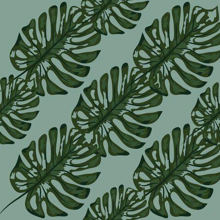 Palm Monstera Seamless Pattern. Blue Black Tropical Summer Background. Beach Jungle Leaves for Swimwear Design. Çizim