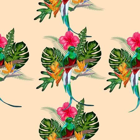 Seamless pattern of endangered species of birds Magnificent resplendent quetzal sitting on a branch against the backdrop of a tropical foliage and flowers, design