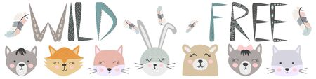 Banner Free, Wild, Brave with animals Cat, wolf, bear, fox, rabbit and feathers in the Scandinavian style. Childrens set