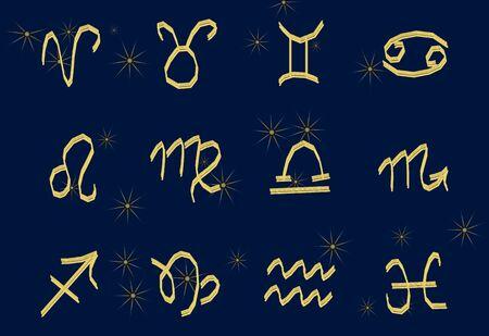 Set of golden Zodiac signs on a dark background. Square icons 版權商用圖片