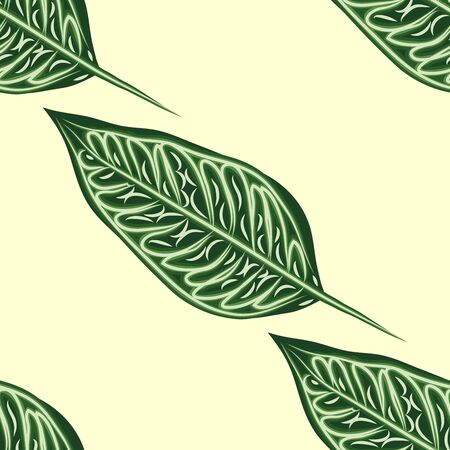 Seamless pattern with leaves of ficus benjamin on green background