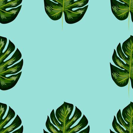 Modèle sans couture de feuilles de monstera. Feuilles tropicales de palmier.