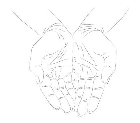 Hope concept. Hand drawn open palms Black and white vintage hands. Vintage figure. Linear graphic design.
