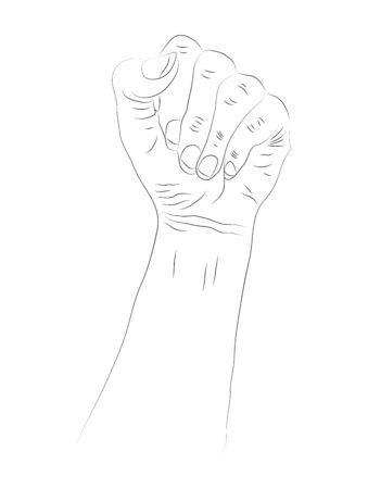 Symbol of feminist movement. Woman hand with her fist raised up. Girl Power. Happy Womens Day concept. Black and white