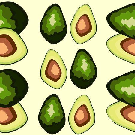 Avocado seamless pattern. Whole and sliced avocado. Original simple flat illustration. Shabby style.