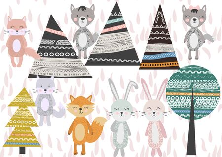 Cute Scandinavian Style Animals and Design Elements. A set of animals in the Scandinavian style: bear, fox, rabbits, cats, wolves. Trees and mountains. Illustration