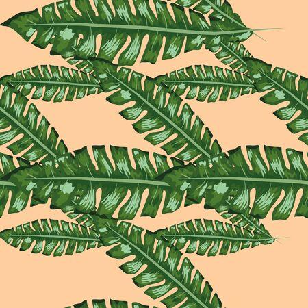Tropical banana green leaves seamless pattern pink background. Exotic wallpaper Çizim