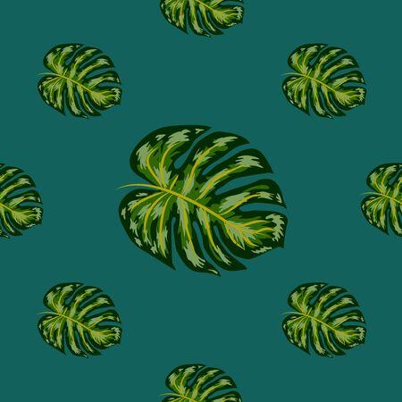 Tropical palm leaves, monstera, jungle leaf vector seamless floral summer pattern background Çizim