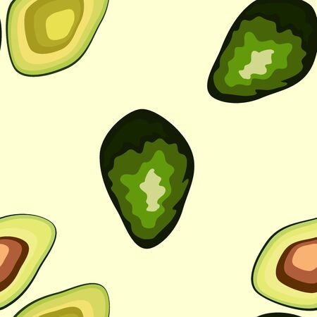 Avocado seamless pattern on background. Whole and cut avocado