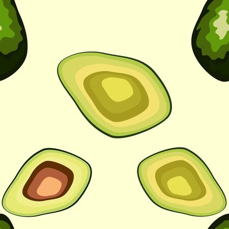 Avocado seamless pattern. Whole and sliced avocado. Original simple flat illustration. Shabby style.