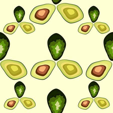 Fresh avocado hand draw seamless pattern.Natural and healthy nutrition. Organic food Çizim