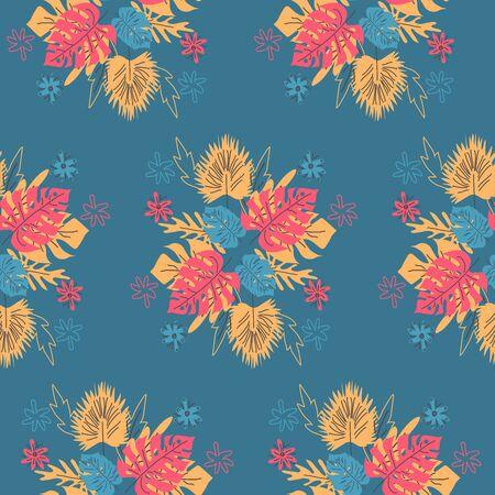 Elegant seamless pattern with flower branch. Scandinavian style background.