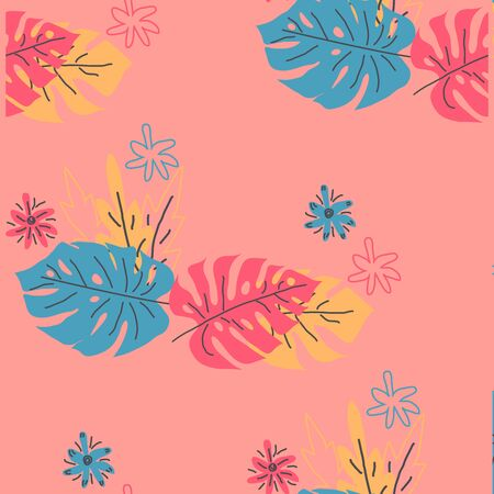Seamless pattern with tropical leaves. Hand drawn summer print Çizim