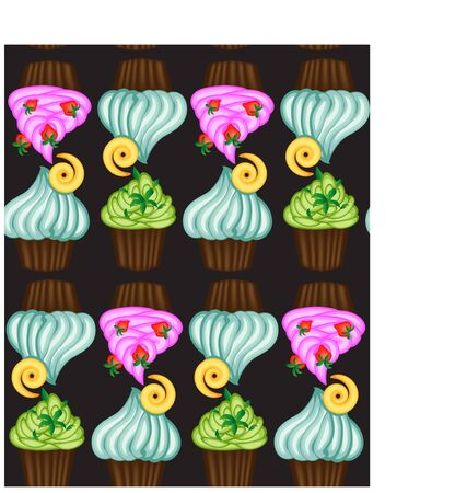 muffin or cake with cream and cherry. Colored flat illustration with vintage inscription Иллюстрация