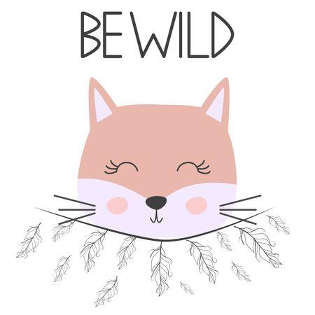 Cute sweet little cat girl smiling face art. Lettering quote Be Wild. Kids nursery scandinavian hand drawn illustration. Graphic design. Illustration