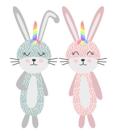 Cute Scandinavian style unicorn bunnies with a rainbow, girl and boy, childrens design