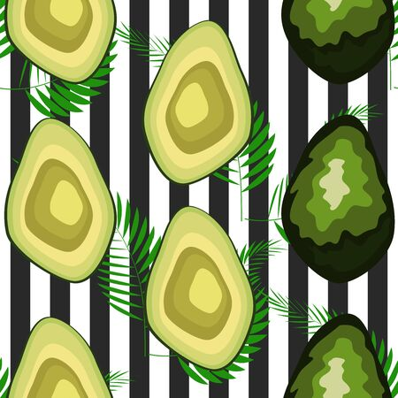 Seamless pattern with tiger stripes and tropical fruits and leaves. Pattern with avocado Çizim