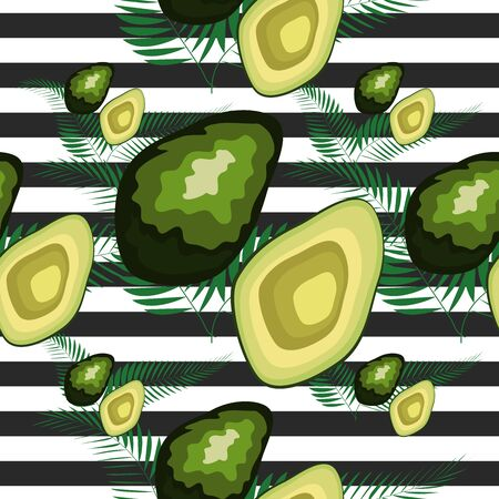Seamless pattern with tiger stripes and tropical fruits and leaves. Pattern with avocado. Illustration