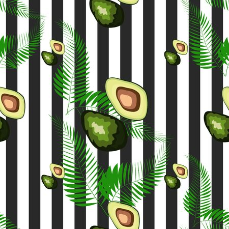 Avocado seamless pattern. Ripe vegetables on striped background. Healthy food print