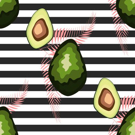 Seamless pattern with avocado and palm leaves and black and white stripes, hand-drawn