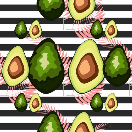 Seamless pattern with tiger stripes and tropical leaves. Pattern with avocado.