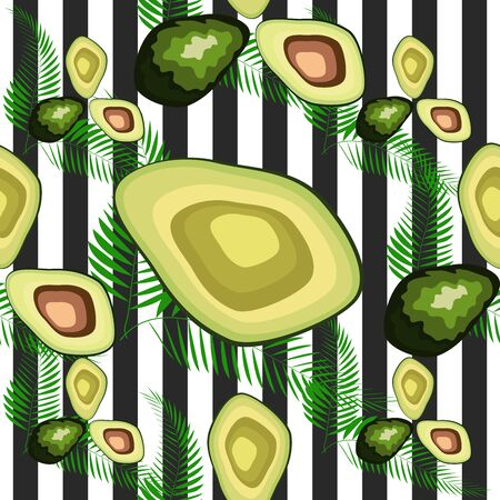 Avocado pattern with palm leaves. Tropical summer fruit engraved style background. Stripe Çizim