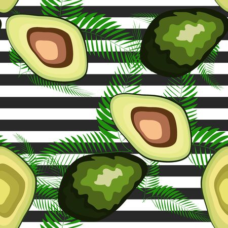 Seamless pattern of avocado fruits with palm leaves on a striped background.