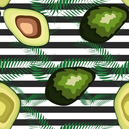 Avocado pattern with palm leaves. Tropical summer fruit engraved style background. Stripe Иллюстрация