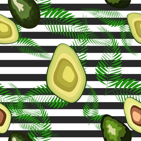 Seamless pattern of avocado with palm leaves dypsis lutescens on a striped background.