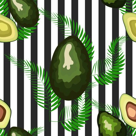 Seamless pattern of avocado fruits with palm leaves dypsis lutescens on a striped background.