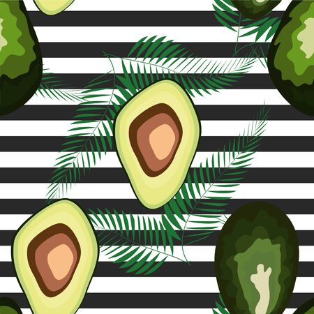 Seamless pattern of avocado fruit with on a striped background. Organic vegetarian avocado seamless repeating pattern - flat style illustration