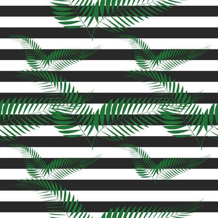 seamless tropical vintage palm pattern on zebra background Stock Illustratie