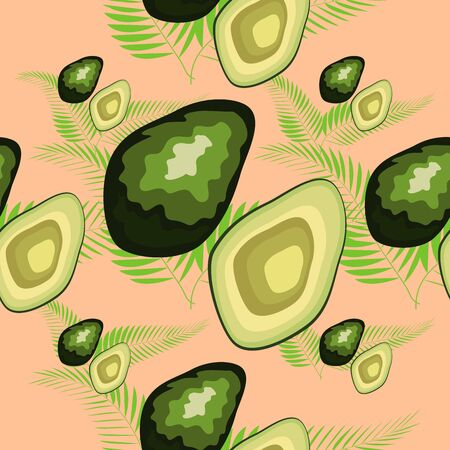 Avocado seamless pattern with tropical leaves of palm tree