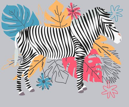 Hand drawn colorful zebra with flowers, Monstera, a bouquet. Zebra - word with cute design. Scandinavian style design.