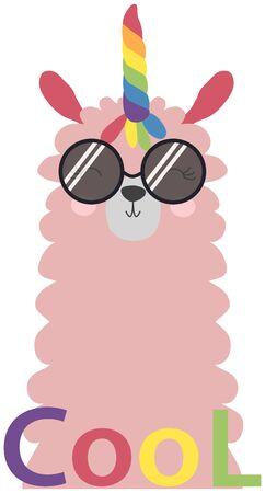 Lama is cute in the Scandinavian style, fashionable, cool, in dark sunglasses.