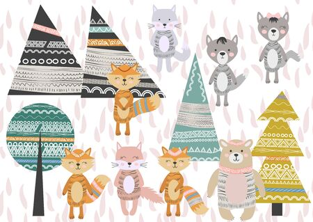 Cute Scandinavian Style Animals and Design Elements. A set of animals in the Scandinavian style: bear, fox, rabbits, cats, wolves. Trees and mountains. Stock Illustratie