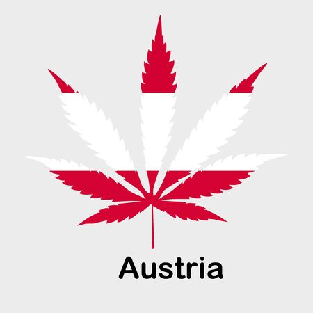 Flag in the form of a cannabis leaf. The concept of legalization of marijuana, cannabis in Austria