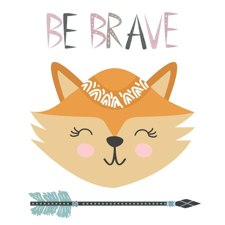 Cute sweet little fox smiling face art. Lettering quote Be Brave. Kids nursery scandinavian hand drawn illustration. Graphic design. Stockfoto - 129243700