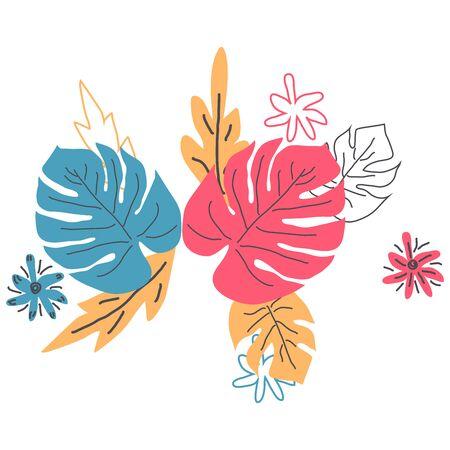 Scandinavian hand drawn nature illustration wedding or travel design. summer isolated flat flower bouquet tropical palm monstera