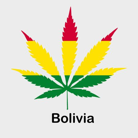 Flag in the form of a cannabis leaf. The concept of legalization of marijuana, cannabis in Bolivia
