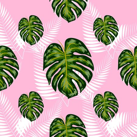 Tropical exotic floral green and red monstera palm leaves seamless pattern. Exotic jungle wallpaper. Ilustração