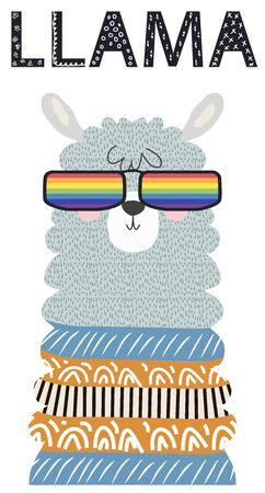 Lama in the Scandinavian style, fashionable, cool, in rainbow glasses. LGBT freedom concept.