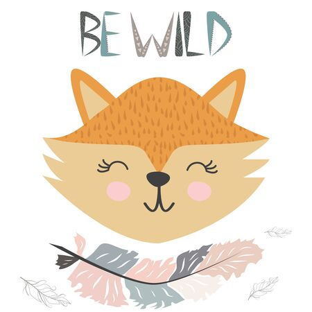 Cute little fox smiling face with graceful feather in the Scandinavian style. Lettering quote Be wild. Graphic design.